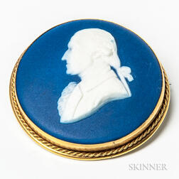 Wedgwood Dark Blue Jasper Dip Portrait Medallion/Brooch