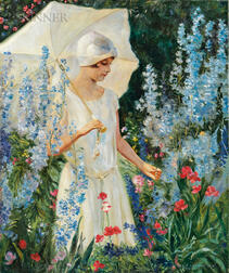 Charles Courtney Curran (American, 1861-1942)      Delphiniums Blue-No. 2