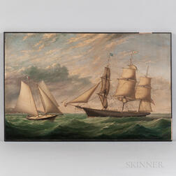 American School, Mid-19th Century      Portrait of the Three-masted Vessel UNDINE