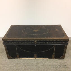 Chinese Export Leather-clad and Brass-bound Camphorwood Trunk