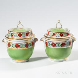 Pair of English Porcelain Covered Fruit Coolers