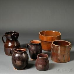 Six Redware and Stoneware Pottery Items