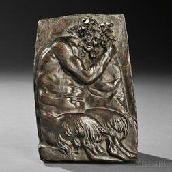 Franco-Flemish School, Late 17th/Early 18th Century       Bronze Plaque of a Satyr