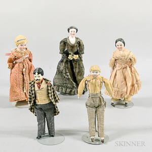 Five Bisque and China Dollhouse Dolls.