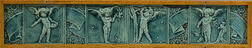 J. & J.G. Low Art Tile Works Eight-part Pottery Tile Panel with Putti Depicting the Seasons