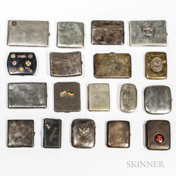Eighteen Mostly World War I Cigarette Cases