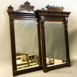 Three Renaissance Revival Scratch-carved Walnut Mirrors