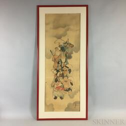 Framed Painting Depicting the Seven Lucky Gods