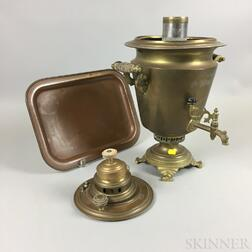 Russian Brass Samovar and a Sternau Copper Dish