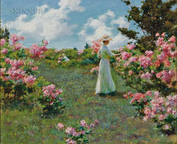Charles Courtney Curran (American, 1861-1942)      Gathering Flowers
