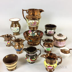 Twelve Staffordshire Copper Lustre Vessels