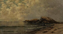 Samuel S. Carr (American, 1837-1908)      Serene Coast with Shoreline Rocks and Distant Sailboats