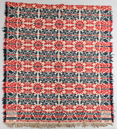 Red, White, and Blue, Woven Wool Coverlet
