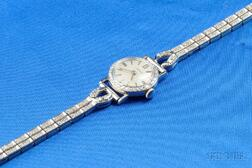 Lady's 18kt White Gold and Diamond Wristwatch, Longines