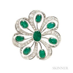 Platinum, Emerald, and Diamond Pendant/Brooch