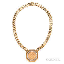 18kt Gold, Diamond, and Gold Coin Necklace