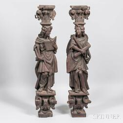 Two Carved Architectural Figural Fragments