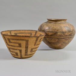 Pima Basket and a Mexican Painted Pottery Jar