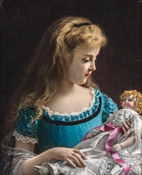 Giovanni Rota (Italian, fl. 1860-1900)      Young Girl in Blue Holding a Doll