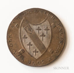 "1792 Norfolk ""May Norwich Flourish"" Halfpenny Conder Token, DH-14"