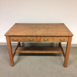 Arts and Crafts Oak Two-drawer Desk