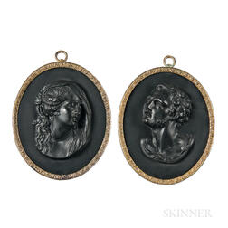 Pair of Wedgwood & Bentley Black Basalt Portrait Medallions