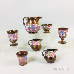 Seven Enameled Copper Lustre Ceramic Tableware Items