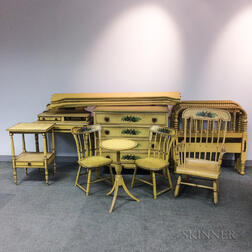 Nine-piece Suite of Yellow-painted Federal and Victorian Furniture.     Estimate $400-600