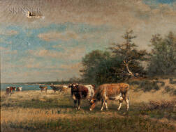James McDougal Hart (American, 1828-1901)      Cows in a Landscape