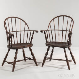 Pair of Painted Windsor Sack-back Chairs