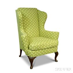 Queen Anne-style Carved Mahogany Celadon-upholstered Wing Chair