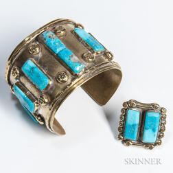 Southwest Brass and Turquoise Bracelet and Ring