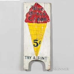 "Painted ""Blue Grass Cream 5c Try a Pint"" Sign"