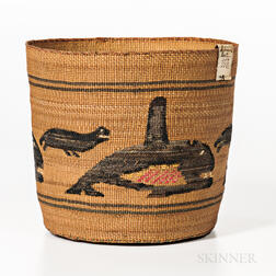 Tlingit Polychrome Pictorial Basket