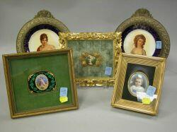 Pair of Gilt-metal Mounted Ceramic Cabinet Plates, Two Framed Miniature Portraits and a Framed Enamel Cherub Plaque.