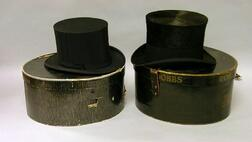 Green Co. Man's Top Hat in a Hatbox and a Dobbs Man's Collapsible Top Hat in a   Hatbox