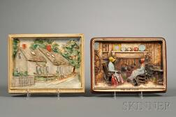 Two Molded and Painted Plaster Plaques