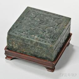 Carved Hardstone Box and Cover