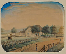American School, 19th Century      Homestead on a Fence-lined Road