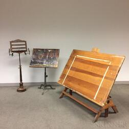 Keuffel & Esser Co. Drafting Table, an Unmarked Drafting Table, and a Turned Wood Reading Stand.     Estimate $20-200