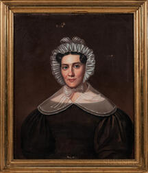 American School, Mid-19th Century  Portrait of Mary Worth Olden.  Unsigned, sitter identified on the back.  Oil on canvas, 30...