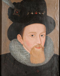 Anglo/Dutch School, Late 16th Century Style, Head of Man in a Feathered Hat with Jeweled Band and Ruff, Possibly Sir Walter Raleigh, Un