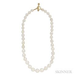 18kt Gold, Baroque Pearl, and Diamond Necklace, Elizabeth Locke