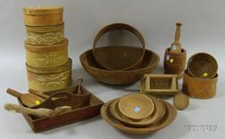 Group of Approximately Twenty Early Woodenware Items