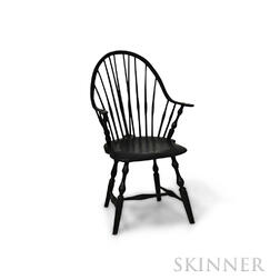 Black-painted Continuous-arm Brace-back Windsor Chair