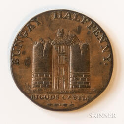 "1794 Bungay Bigods Castle ""For Change Not Fraud"" Halfpenny Conder Token, DH-22"