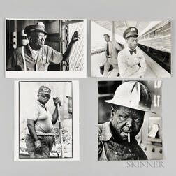 Four Large Format Photographs of African American Railroad and Construction Workers