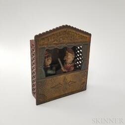 """Polychrome Cast Iron """"Punch and Judy"""" Mechanical Bank"""