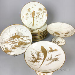 Set of Twelve Mintons Porcelain Bird Plates and a Pair of Compotes