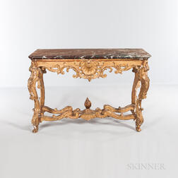 Rococo Carved Giltwood Marble-top Console